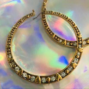 Gold crystal heart hoop earrings Betsey Johnson